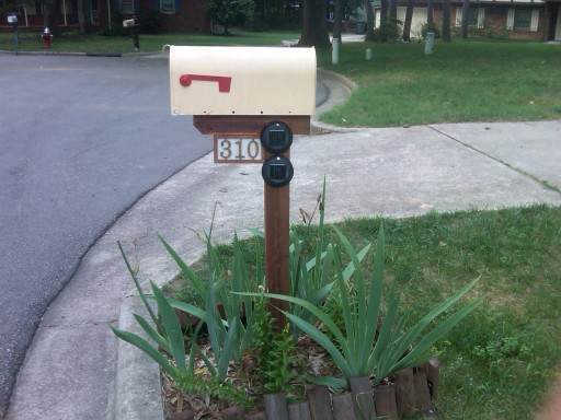 Mounted address box as seen driving up the street.