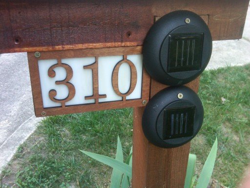 Solar powered, illuminated address sign